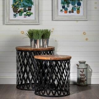Bengal Manor Iron and Mango Wood Nesting Tables (Set of 2)