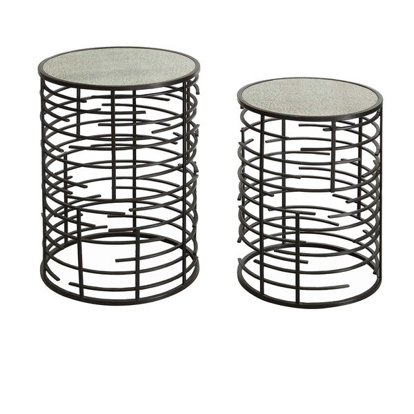 Empire Black Metal and Antique Mirror Nesting Tables (Set of 2)