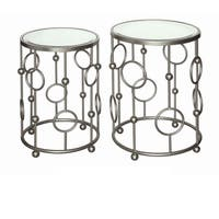Halcyon Brushed Metallic Silver and Mirror Nesting Tables (Set of 2)