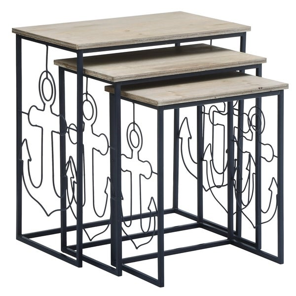 Nautical Navy Anchor Metal And Wood Nesting Tables (Set Of 3)