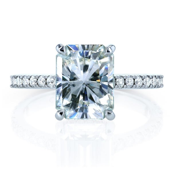 Annello by Kobelli 14k Gold 3 1/10ct TGW Radiant-cut Moissanite and Diamond Engagement Ring (FG/VS, GH/I). Opens flyout.