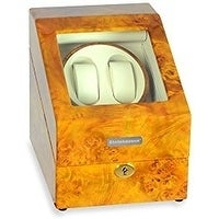 Steinhausen Heritage Double Watch Winder With Storage For 3 Watches, Ultra Quiet Motor and Multiple Modes/ Burlwood