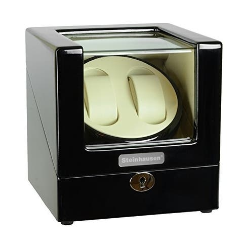 Steinhausen Heritage Double Watch Winder With Ultra Quiet Motor and Multiple Modes/ Onyx