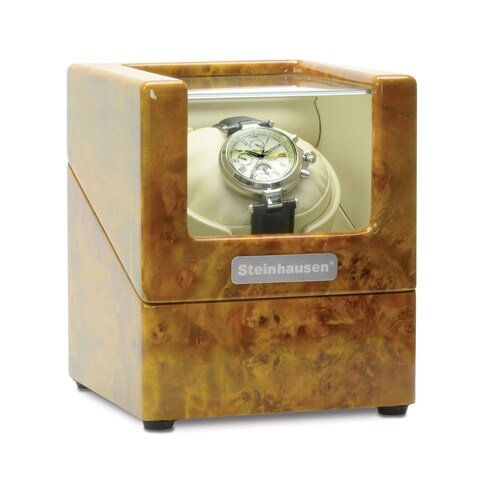 Steinhausen Heritage Single Watch Winder With Ultra Quiet Motor and Multiple Modes/ Burlwood