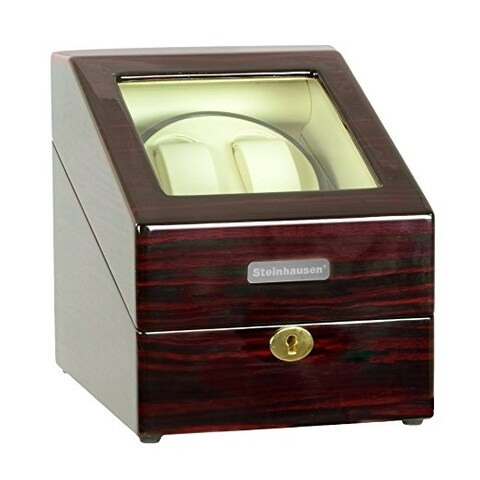 Steinhausen Heritage Double Watch Winder With Storage For 3 Watches, Ultra Quiet Motor and Multiple Modes/ Cherrywood