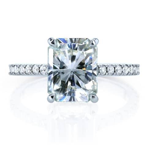 Annello by Kobelli 14k Gold 3 1/0ct TGW Radiant-cut Moissanite and Diamond Hidden Halo Engagement Ring (HI/VS, GH/I)