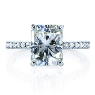 Link to Annello by Kobelli 14k Gold 3 1/0ct TGW Radiant-cut Moissanite and Diamond Hidden Halo Engagement Ring (HI/VS, GH/I) Similar Items in Rings