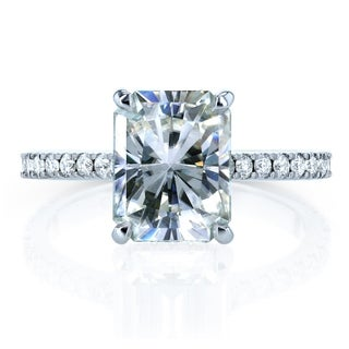 Annello by Kobelli 14k Gold 3 1/10ct TGW Radiant-cut Moissanite and Diamond Engagement Ring (HI/VS, GH/I)