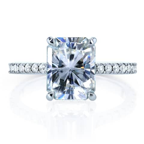 Annello by Kobelli 14k Gold 3 1/10ct TGW Radiant-cut Moissanite and Diamond Engagement Ring (DEF/VS, GH/I)