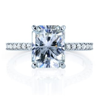 Link to Annello by Kobelli 14k Gold 3 1/10ct TGW Radiant-cut Moissanite and Diamond Engagement Ring (DEF/VS, GH/I) Similar Items in Rings