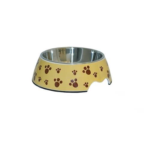 ALEKO Pet Food Bowl Melamine With Steel Removable Bowl