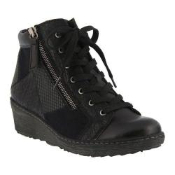 Women's Spring Step Lilou Wedge Sneaker Black Synthetic Leather