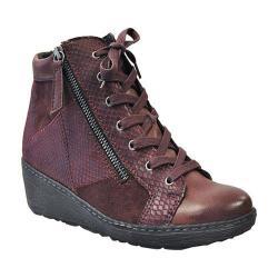 Women's Spring Step Lilou Wedge Sneaker Bordeaux Synthetic Leather