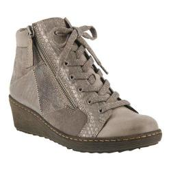 Women's Spring Step Lilou Wedge Sneaker Gray Synthetic Leather