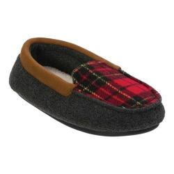Boys' Dearfoams Plaid Moccasin Slipper Dark Heather Grey