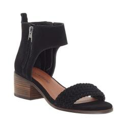 Women's Lucky Brand Nichele Woven Sandal Black Suede/Leather