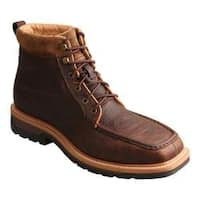 Men's Twisted X Boots MLCALW1 Lite Work Lacer Alloy Toe Boot Dark Brown Leather