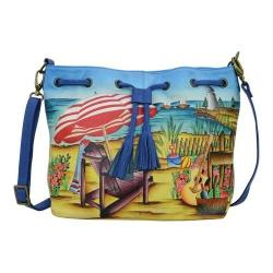 Women's ANNA by Anuschka Hand Painted Drawstring Satchel 8302 Life is a Beach