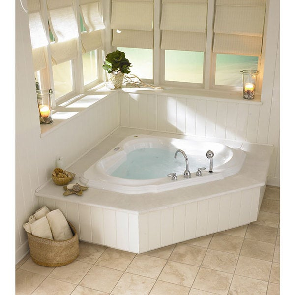 Jacuzzi bellavista corner whirlpool tub free shipping for Whirlpool shower bath suites