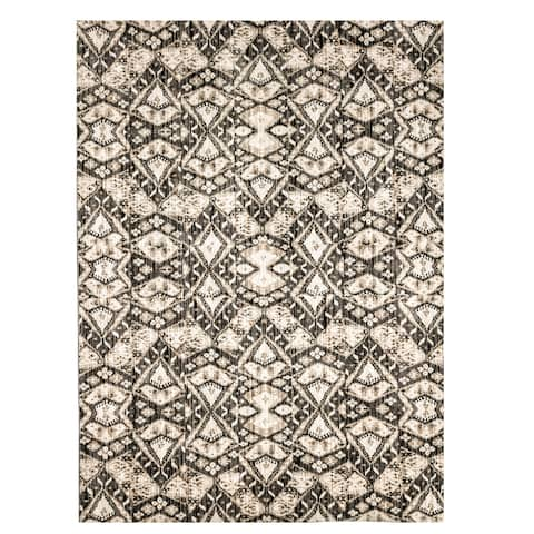 Furniture of America Evie Contemporary Recycled Brown Geometric Diamond Rug - 5'3 x 7'6