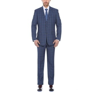 Verno Men's Color Mixture Plaid Classic Fit Notch Lapel Suit