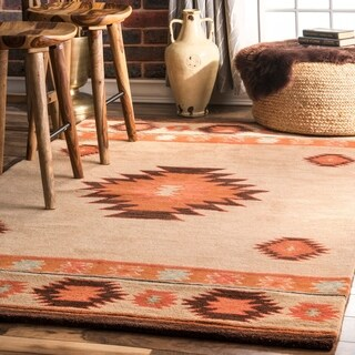 Pine Canopy Tongass Hand-tufted Southwestern Wool Beige Area Rug - 4' x 6'