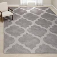 "Oliver & James Starling Handmade Grey Wool Trellis Area Rug - 9'6"" x 13'6"""
