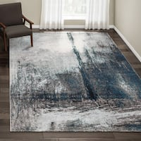 Oliver & James Knight Grey Abstract Painting Area Rug - 8' x 10'
