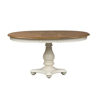 The Gray Barn Aslan Country 48x60 Single Pedestal Oval Dinette Table - White