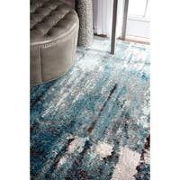 Oliver & James Knight Blue Abstract Painting Area Rug - 8' x 10'