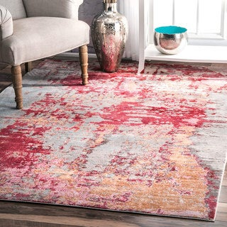 The Curated Nomad Pauling Red Contemporary Abstract Painting Area Rug