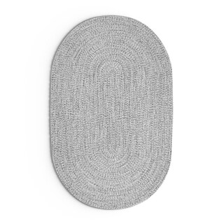 Oliver & James Rowan Handmade Grey Braided Area Rug - 4' x 6' oval