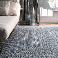 Oliver & James Rowan Handmade Blue Braided Area Rug - 5' x 8'