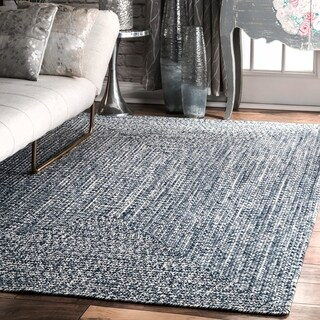 Oliver & James Rowan Handmade Blue Braided Area Rug - 7'6 x 9'6