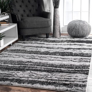 Strick & Bolton Abbey Black/ Grey Striped Abstract Area Rug