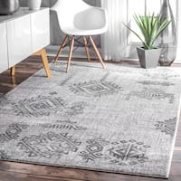 "Strick & Bolton Merrill Tribal Symbols Grey Vintage Abstract Area Rug - 7'6"" x 9'6"""