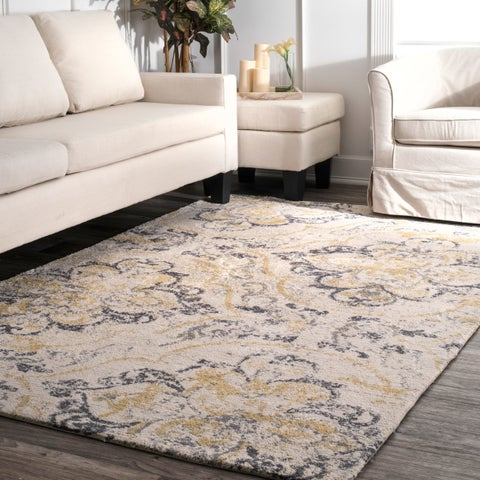 Carson Carrington Vebenstad Ivory/Yellow Modern Radiante Area Rug