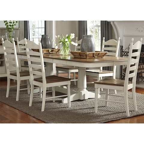 The Gray Barn Careyes Honey/Cream Wood 7-piece Ladderback Double Pedestal Dinette Set