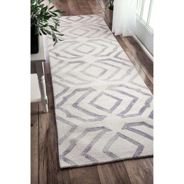 Strick Bolton Nat Contemporary Handmade Abstract Wool Grey Runner Rug