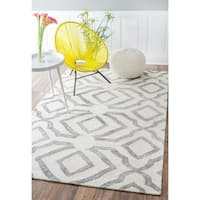 "Strick & Bolton Nat Contemporary Handmade Abstract Wool Light Grey Area Rug - 8'6"" x 11'6"""