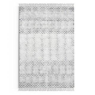 Carson Carrington Horning Handmade Flatweave Diamond Chain Cotton Fringe Grey Area Rug (4 x 6 - grey)