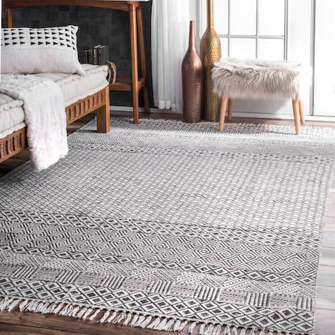 Carson Carrington Horning Handmade Flatweave Diamond Chain Cotton Fringe Grey Area Rug