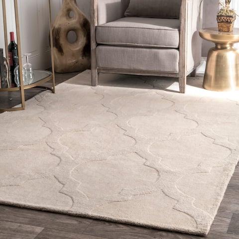 nuLOOM Handmade Abstract Raised Trellis Wool Rug