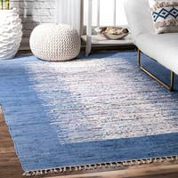 Palm Canyon Lucia Handmade Abstract Border Flatweave Cotton Area Rug (8' x 10')
