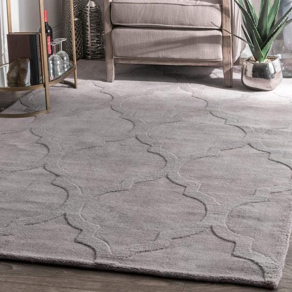 Oliver & James Starling Handmade Grey Wool Trellis Area Rug - 7' 6 x 9' 6