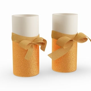 Silver Orchid Starke Battery Operated LED Candles with Gold Bow (Set of 2)