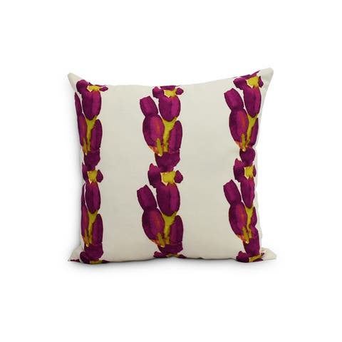 Sunset Tulip Stripe 20 inch Floral Decorative Outdoor Pillow