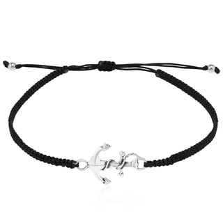 Link to Handmade Nautical Rope Anchor Sterling Silver Charm Adjustable Bracelet (Thailand) Similar Items in Bracelets
