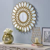 Antares Glam Flower Wall Mirror by Christopher Knight Home - Gold - N/A