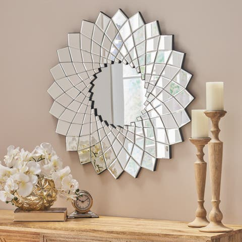 Tzipora Glam Sunburst Wall Mirror by Christopher Knight Home - Silver